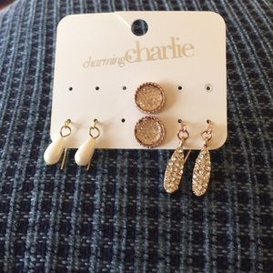 1pack of 3 set earrings charming Charlie rose gold